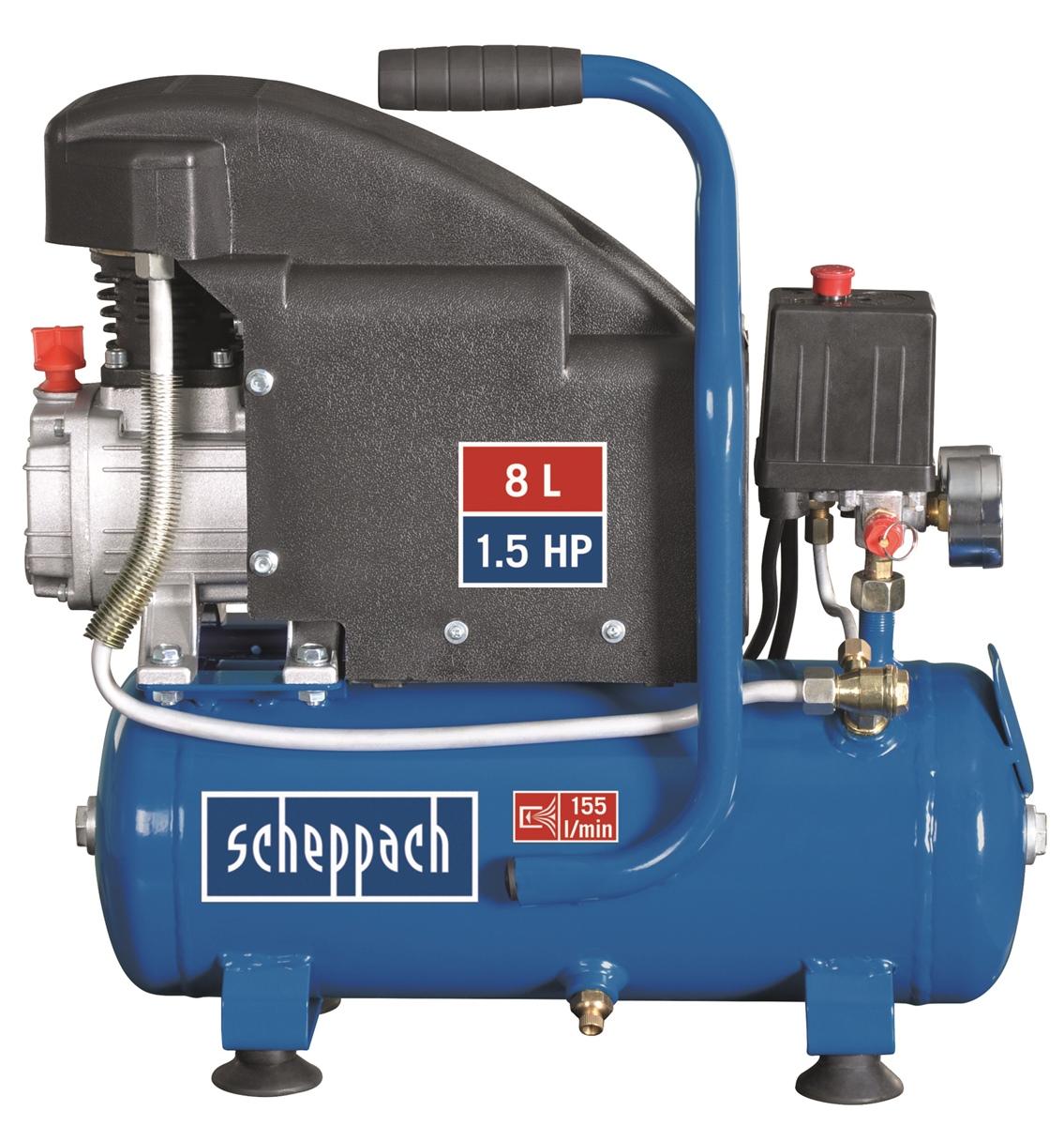 scheppach hc08 druckluft kompressor 8 bar 1 5 ps 8 liter neu. Black Bedroom Furniture Sets. Home Design Ideas