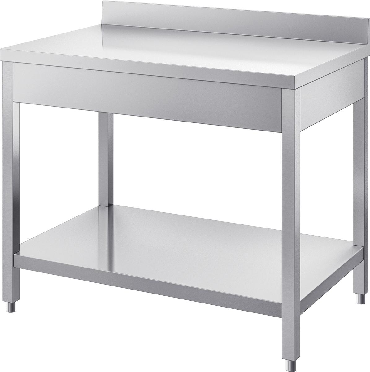 gam gastro edelstahl arbeitstisch tisch 100 cm breit 1 ablagefl che abschlusskante neu. Black Bedroom Furniture Sets. Home Design Ideas