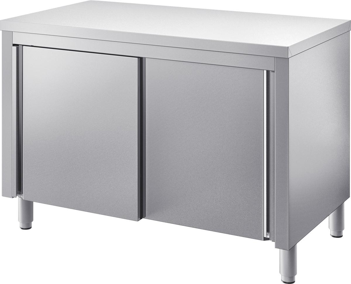 gam gastro edelstahl arbeitstisch tisch 120 cm breit mit schiebet ren beschichtet neu. Black Bedroom Furniture Sets. Home Design Ideas