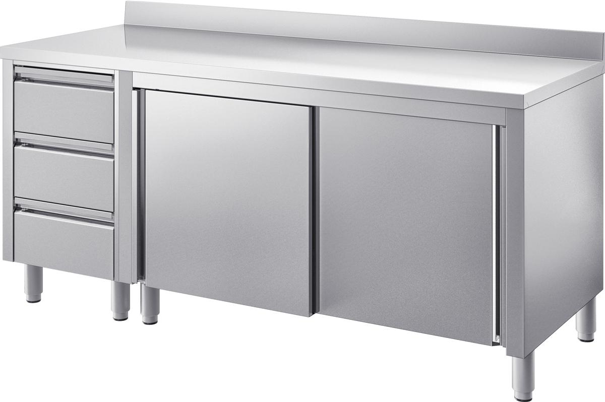 Fabulous GAM Gastro Edelstahl Arbeitstisch Tisch 200 cm breit Schiebetüren JQ84