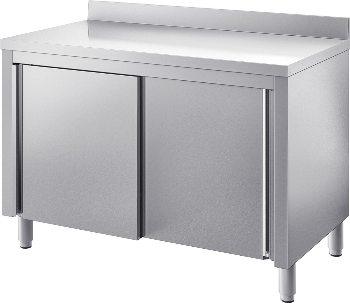 gam gastro edelstahl arbeitstisch tisch 130 cm breit mit schiebet ren abschlusskante. Black Bedroom Furniture Sets. Home Design Ideas