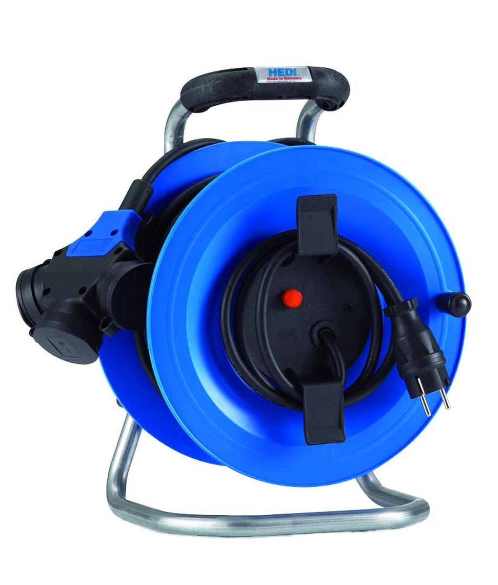 hedi g2y25ntfhk kunststoff kabeltrommel 25m 3 fach kupplung f r au en blau neu. Black Bedroom Furniture Sets. Home Design Ideas
