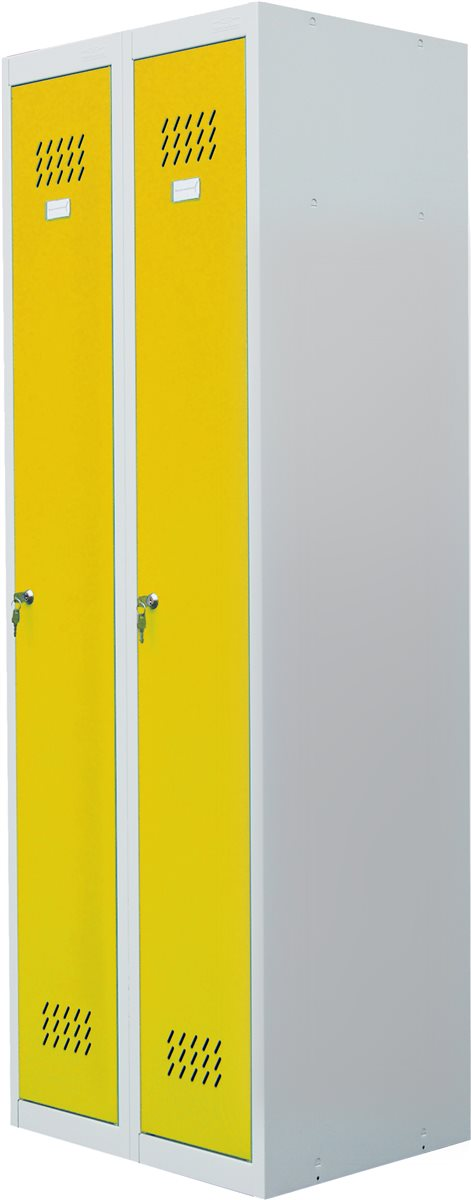 HBH24Online - PRO-BAU-TEC Doppel Spind Schrank gelb Metallschrank ...