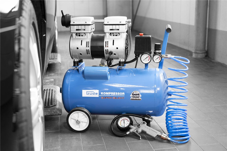 GÜDE Doppelzylinder Silent Kompressor 150//8//24 Leistung150l ölfrei 8bar 750W 24l